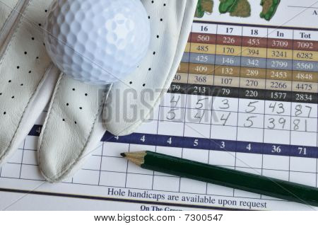 Golf Score Card With Glove, Pencil, & Ball