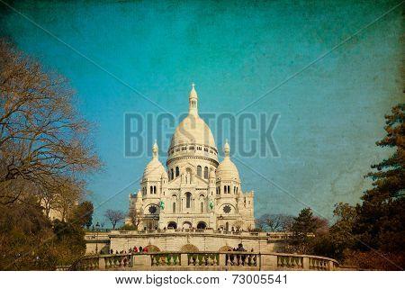 Vintage Sacre-Coeur church in Montmartre,paris