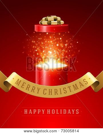 Open gift and light fireworks christmas vector background. Merry Christmas and Happy New Year or Happy Birthday illustration.