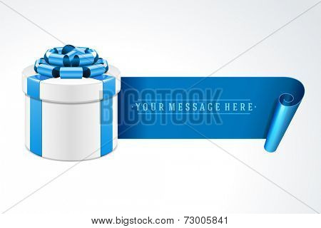 Gift box with blue bow isolated on white. Vector illustration eps 10.