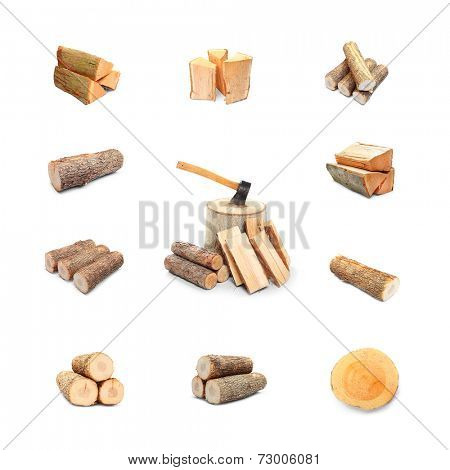 Great collection of firewood on white background.