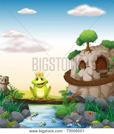 Illustration of a frog sitting on a log