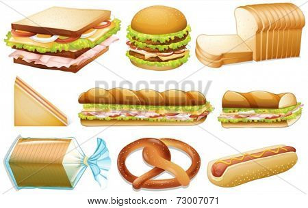 Illustration of different kind of bread