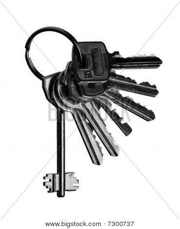 Macro View Of Silver Keys On The White Background