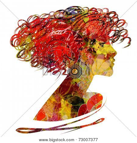 art sketched floral beautiful girl face profile with curly hairs  in colorful graphic isolated on white background