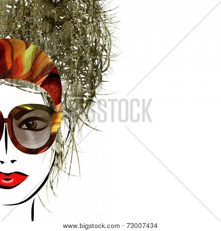 art colorful sketched beautiful girl face isolated on white background with space for text
