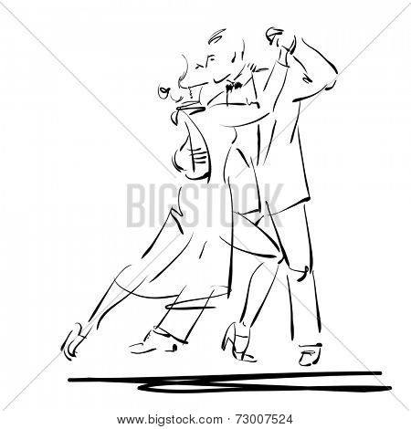 art sketched tango dancers isolated on white background