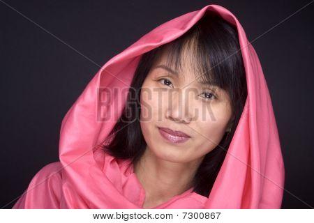 Portrait of hooded model