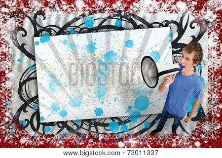 Blank screen with black artistic frame and young man shouting through megaphone against snow