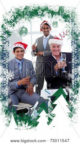 Confident businessmen wearing novelty Christmas hat against christmas themed frame