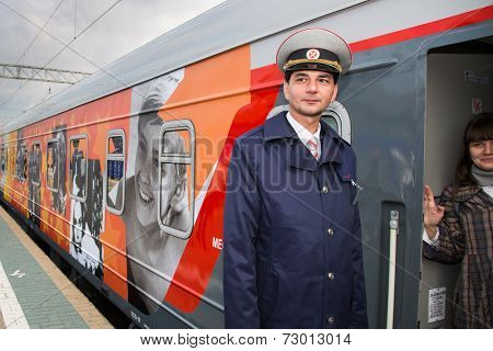 MOSCOW, RUSSIA, SEPTEMBER, 23: Trainman.Train VGIK -95 (Gerasimov Institute of Cinematography) Tour. September, 23, 2014 at Yaroslavsky railway station in Moscow, Russia