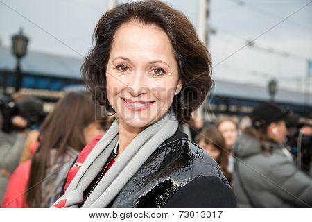 MOSCOW, RUSSIA, SEPTEMBER, 23: Actress O.Kabo. Train VGIK -95 (Gerasimov Institute of Cinematography) Tour. September, 23, 2014 at Yaroslavsky railway station in Moscow, Russia