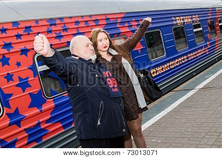 MOSCOW, RUSSIA, SEPTEMBER, 23: Director VGIK V.Malishev.Train VGIK 95 (Gerasimov Institute of Cinematography) Tour. September, 23, 2014 at Yaroslavsky railway station in Moscow, Russia