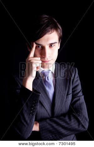 Young Business Man thinking
