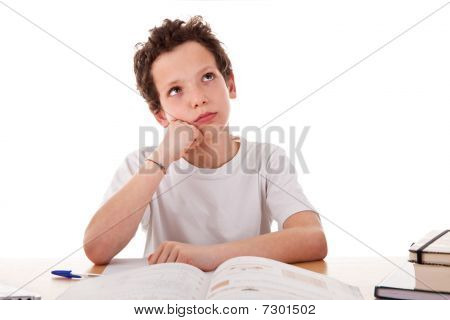 Boy Studying Boring