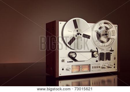 Analog Stereo Open Reel Tape Deck Recorder Vintage Detailed Closeup
