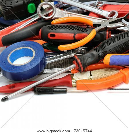 set tools isolated on white background