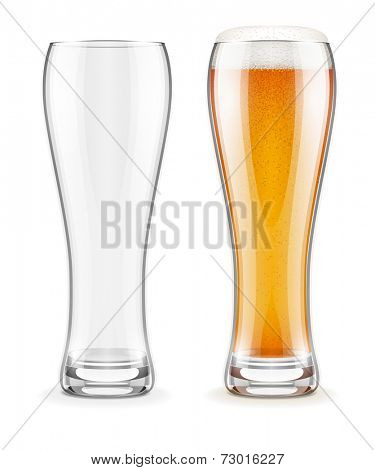 Empty transparent glass and full glass of beer with white froth. Eps10 vector illustration. Isolated on white background