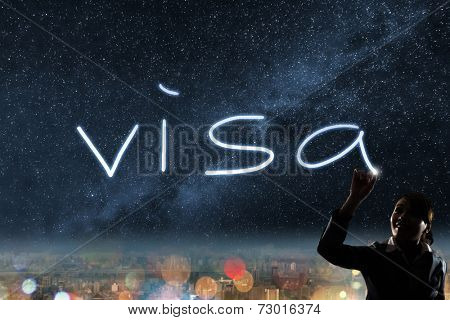 Concept of visa, silhouette asian business woman light drawing.