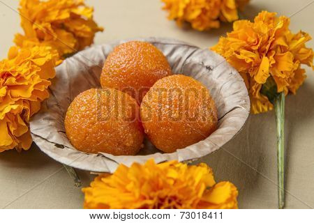 Boondi Ladoo - A traditional indian sweet in a earthen bowl