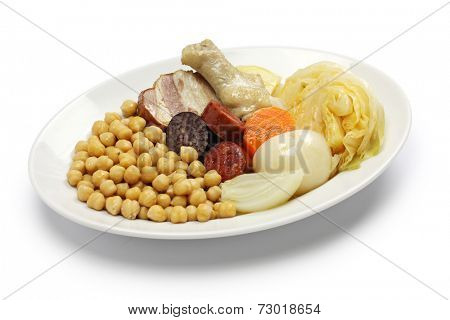 cocido madrileno, chickpea and pork stew, spanish cuisine isolated on white background