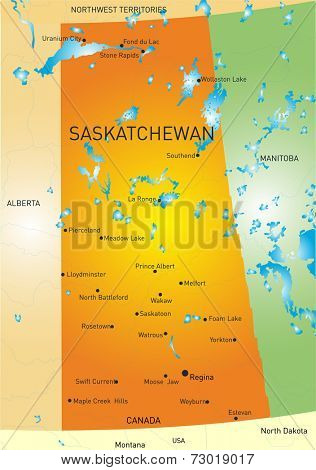 Vector color map of Saskatchewan province