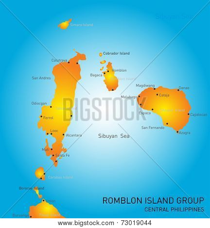 Vector color map of Romblon Island group