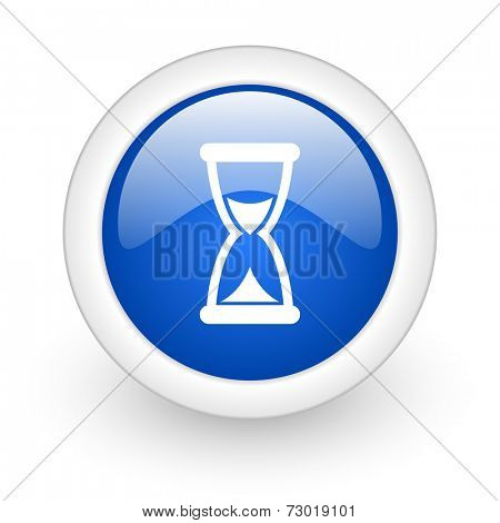 time blue glossy icon on white background