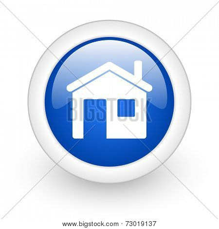 house blue glossy icon on white background