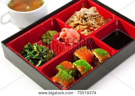 Bento Lunch - Maki Sushi, Chuka Salad, Noodles with Meat. Garnished with Miso Soup