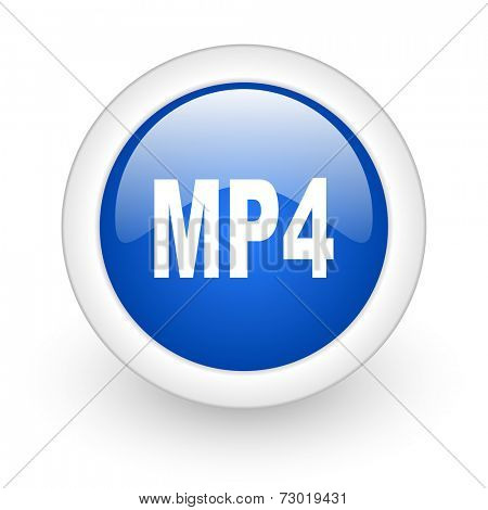 mp4 blue glossy icon on white background