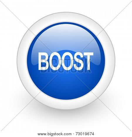 boost blue glossy icon on white background