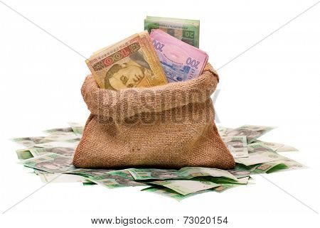 Full money bag with ukrainian hryvna, isolated on white background