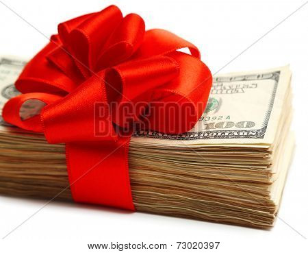 Bundle of dollars tied with ribbon isolated on white