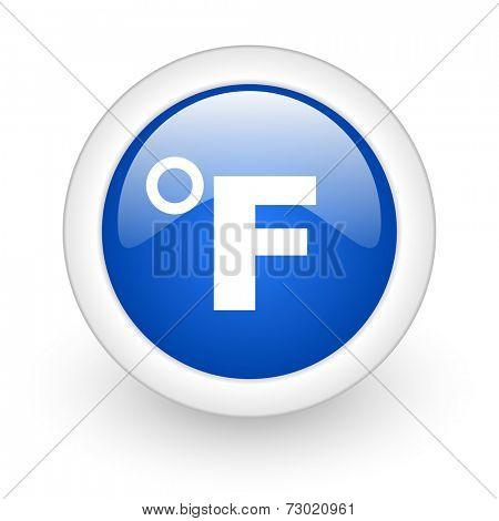fahrenheit blue glossy icon on white background