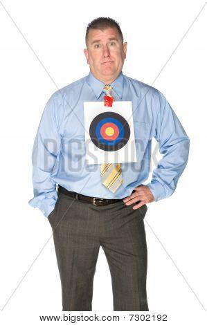 Businessman With Bulls Eye Target On Shirt