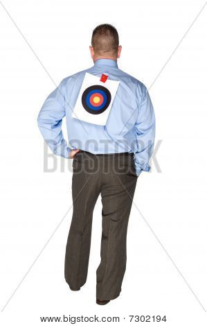 Businessman With Bulls Eye On Back