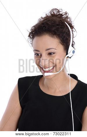 Support phone operator with headset: isolated young business woman.