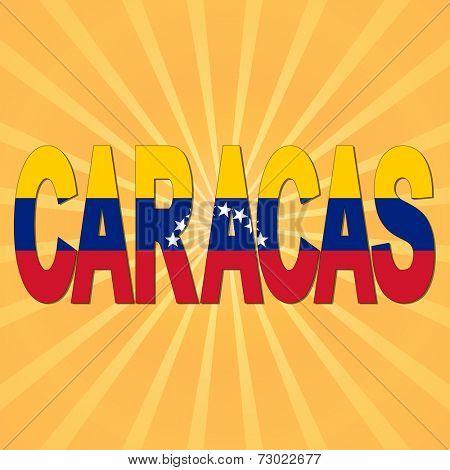 Caracas flag text with sunburst illustration