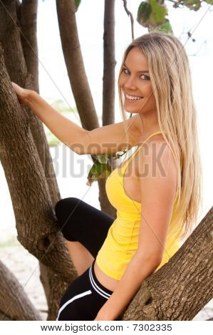 Smiling Young Woman In Tree