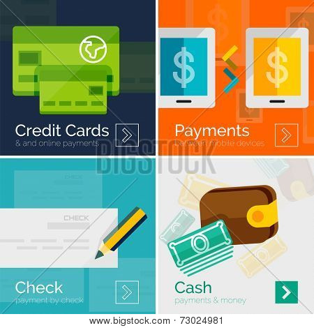 Set of flat design banners - payment online. Cash, check, mobile online and credit card