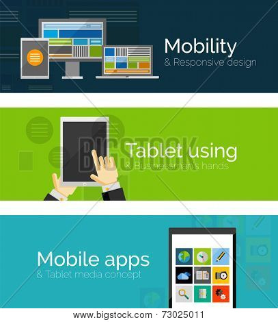 Set of flat design banners - business and mobility. Mobile apps, tablet with businessman's hands and responsive design of pc tablet phone and taptop