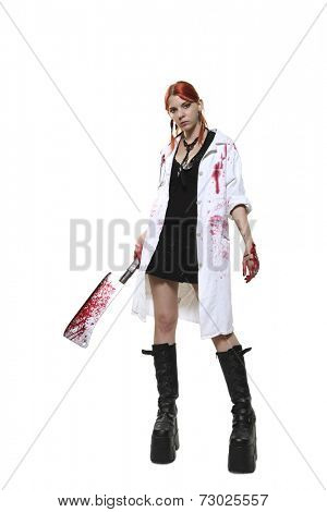 Female doctor with blooded cleaver on white background