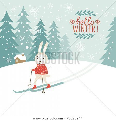 the cute rabbit skis, Christmas background