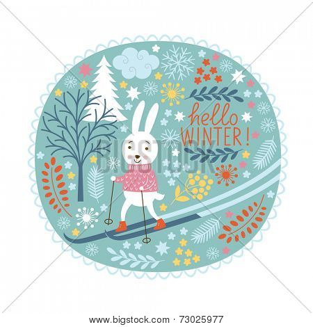 Christmas greeting card, rabbit is skier