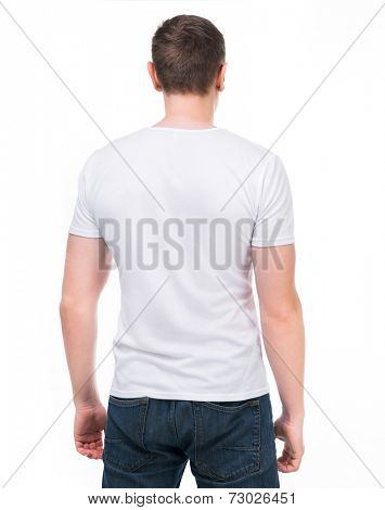 White t-shirt on a young man. Back