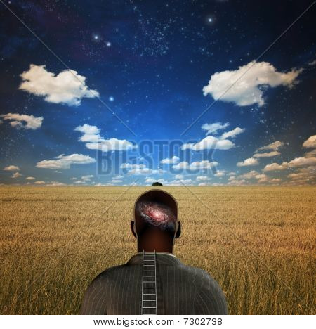Man With Galaxy In Head
