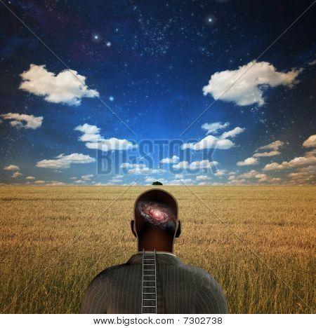 Man With Galaxy In Head