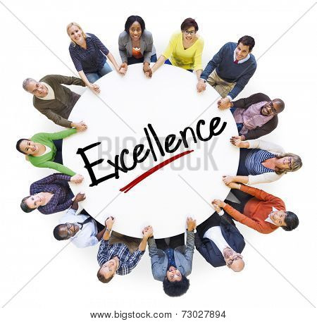 Group of People Holding Hands Around Letter Excellence