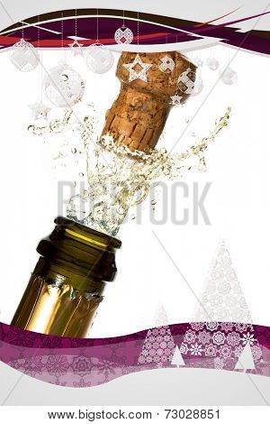 Christmas frame against close up of champagne cork popping